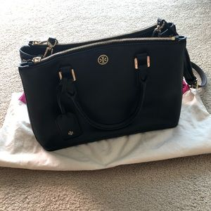 Tory Burch Robinson black saffiano mini zip tote